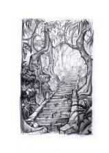 Mayan Forest Stairs - sketch 1